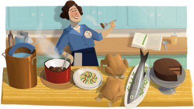 Julia Child doodle de Google 2012
